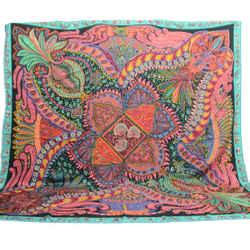 Authentic Hermes Scarf Cashmere Le Jardin de la Maharani Faivre Shawl Silk 140cm Carre