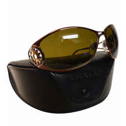 BULGARI Coppertone Metal Frame Dark-Green Lenses Sun Hinge Wrap Sunglasses/Case