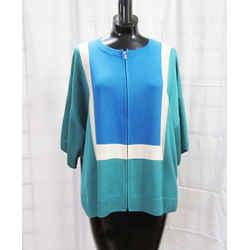 New St John Cardigan Jacket M Colorblock Verde Multi Zip Milano Knit Dolman