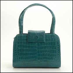 Rdc11688 Authentic Nancy Gonzalez Teal Blue Crocodile Top Handle Satchel