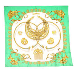 Vintage Authentic Hermes Green  with Multi Silk Fabric Printed Scarf France