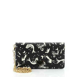 Wallet on Chain Printed Saffiano Leather