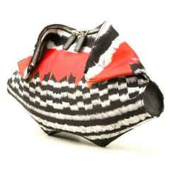 $1200 Nwt Alexander Mcqueen De-manta Feather Print Clutch Bag Red Black White