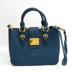 Miu Miu Madras Women's Leather Handbag,Shoulder Bag Dark Blue BF519794
