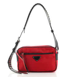 New Vela Shoulder Bag Tessuto with Studded Leather Small
