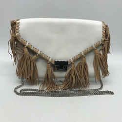 Loeffler Randall White Leather Fringe Trim Bag