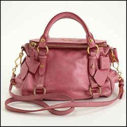 "Rdc11404 Authentic Miu Miu Bright Pink Leather ""bow"" Bag W/strap"