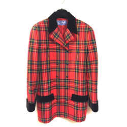 THIERRY MUGLER Red/Multicolor Plaid Wool Jacket with Black Velvet Accents