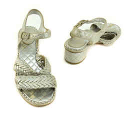 "CHANEL ""Chain"": Metallic Silver, Woven Leather ""CC"" Logo Sandals/Heels Sz: 7M"