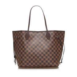 Vintage Authentic Louis Vuitton Brown Damier Ebene Neverfull MM France