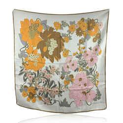 Christian Dior Vintage Orange Pink Floral Design Silk Scarf