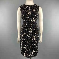 Oscar De La Renta 14 Black & White Floral Stretch Silk Sleeveless Shift Dress