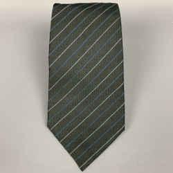 MARC JACOBS Olive Diagonal Stripe Silk Tie