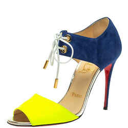 Christian Louboutin Navy Blue/Green Suede and Leather Mayerling Lace Up Sandals