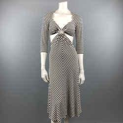 Michael Kors Size 10 Navy & White Striped Cutout Hoop Dress