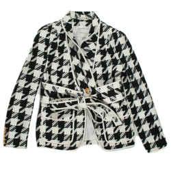 Pierre Balmain - Belted Coat - Houndstooth Jacket - Tie Waist Blazer - Us 6 - 40
