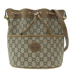 Auth Gucci Gucci Plus Old Drawstring Shoulder Bag Brown Leather