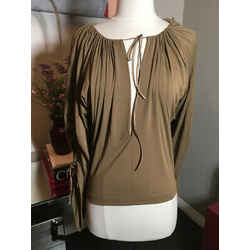 Plein Sud Size 6 Brown Jersey Gathered Sleeves Blouse Nwt 2400-263-11020