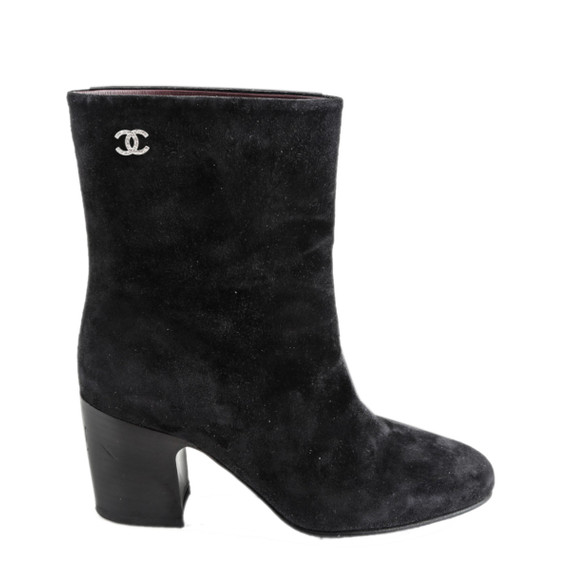 Chanel Black Short Suede Calfskin Boots