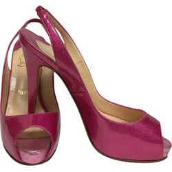 Christian Louboutin Pink Metallic Platform Peep Toe Slingback Pumps Size: EU 37 (Approx. US 7) Regular (M, B) Item #: 22994824
