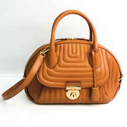 Salvatore Ferragamo Fiamma FZ-21 F246 Women's Leather Handbag Beige BF536092