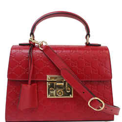 Gucci Padlock Small Signature Top Handle Crossbody Bag Red 453188