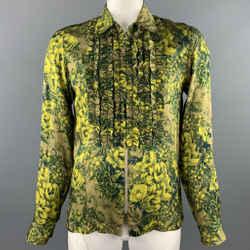 DRIES VAN NOTEN S/S 2020 Size L Green Print Viscose Zip Up Long Sleeve Shirt