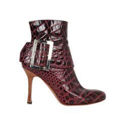 Dolce&Gabbana Ankle Boot Shoe Burgundy Crocodile 9.5 Bold Buckle