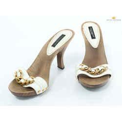 Dolce&gabbana Wooden Sandals Gold Chain