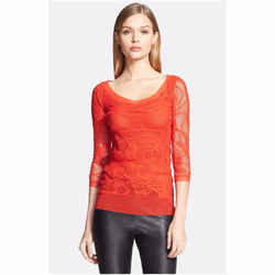 Jean Paul Gaultier Women's Tattoo Lace Tulle Top Blouse Geranio Red S 4 6
