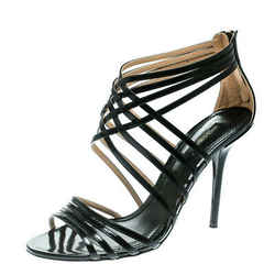 Dolce and Gabbana Black Leather Strappy Sandals Size 40