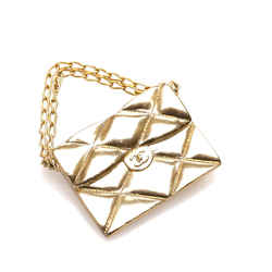 Vintage Authentic Chanel Gold Brass Metal Matelasse Flap Bag Brooch France