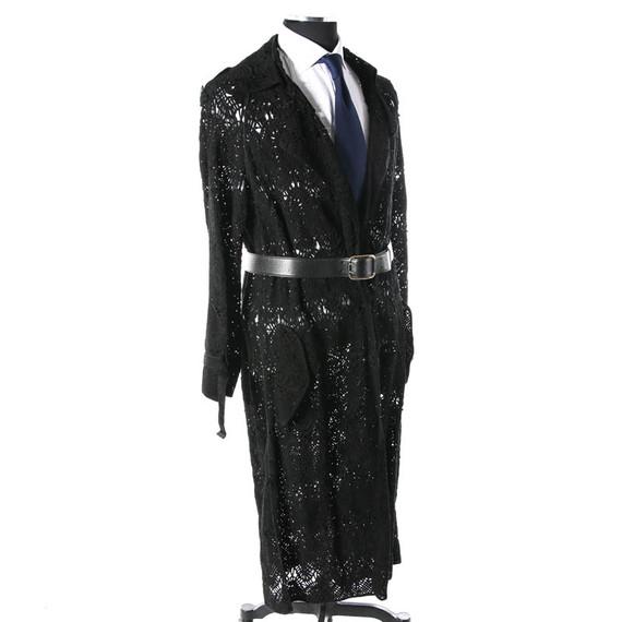 NWT Loewe Black Suede Passementerie Laced Woven Long Coat