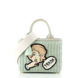 Comic Basket Bag Wicker with Applique Small