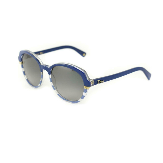 "Dior ""croisette 3"": Navy Blue, Stripe & Gold Logo Sunglasses (mn)"