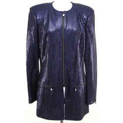 St. John Couture Navy Blue Jacket Blazer Rhinestone Sequin Knit Sweater 10