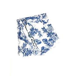New OSCAR DE LA RENTA White/Royal-Blue Floral-print Cotton Wrap Shawl Pareo