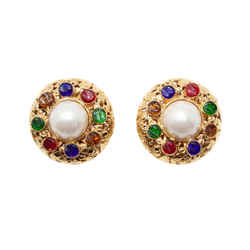 Vintage Resin And Faux Pearl Earrings