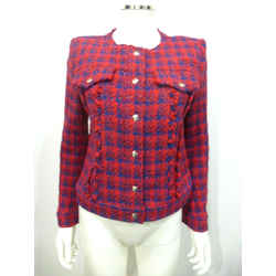 $700 Iro Red/blue Jacket W/red Shimmer-silver Buttons Check Pattern Sz 2 Eu 38