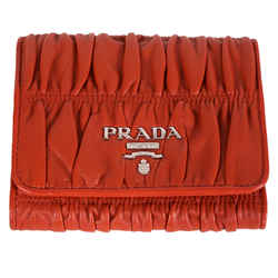 NEW $550 PRADA Red Nappa GAUFRE RUCHED LEATHER Trifold LOGO WALLET 1MH840 NIB