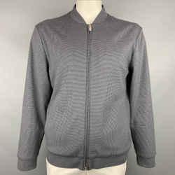 ARMANI COLLEZIONI Size XL Grey & Black Houndstooth Cotton Bomber Jacket