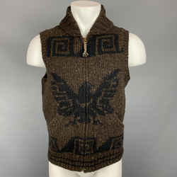 RRL by RALPH LAUREN Size M Brown & Navy Knitted Wool Blend Vest