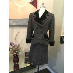 Givenchy Sz S/m Black & Gray Wool Velvet Trim Tweed Skirt Suit - 1537-151092419