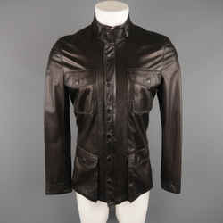 Elie Tahari 38 Black Solid Leather Jacket