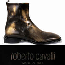 SZ 43 US 10 NEW $705 ROBERTO CAVALLI Men's Black BRONZE AGED Leather Ankle BOOTS