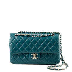 Classic Medium Double Flap Bag | Blue Lambskin | Shw