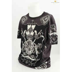 Dolce&gabbana Swords & Shield Crest Print Black T-shirt
