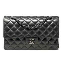 Chanel Medium Double Flap Lambskin Bag Metallic Shw