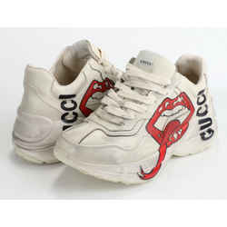 Gucci Women's Rhyton Sneaker with Mouth Print - Distressed Ivory