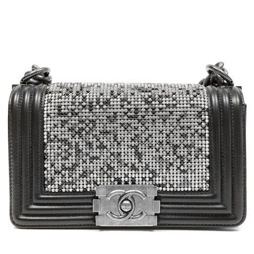 Chanel Black Swarovski Crystal Boy Bag